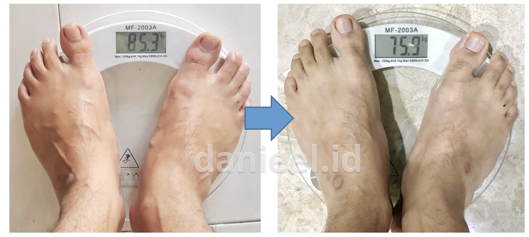 Weight before and after diet